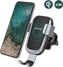 steanum Qi Handy Halterung für Auto,Qi Induktions Autohalterung Air Vent Phone Mount Holder für Apple iPhone X/iPhone 8/8Plus, Samsung Note 5/8, Galaxy S9/S9+/S8/S8+/S7/S6 Edge+ Schwarz …