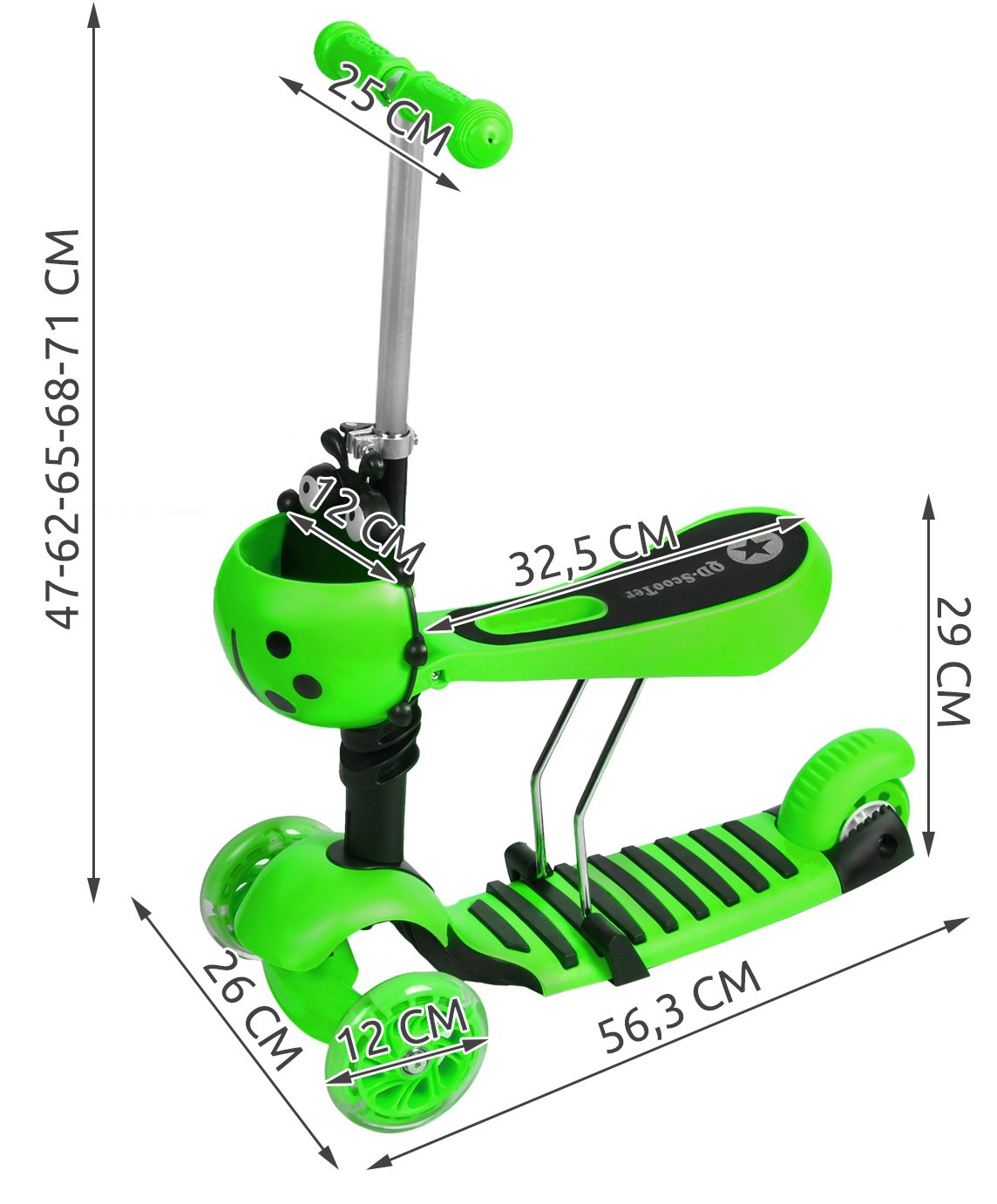 kinderroller dreirad tretroller cityroller sitz kinder led r der scooter 3479. Black Bedroom Furniture Sets. Home Design Ideas