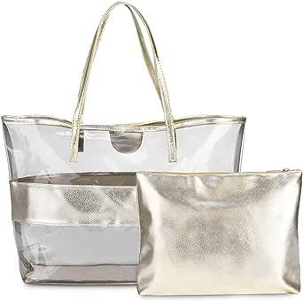 TRASPARENTE Vinile Plastica Tote Bag Shopper Manici Bianco Trasparente Vettore grandi