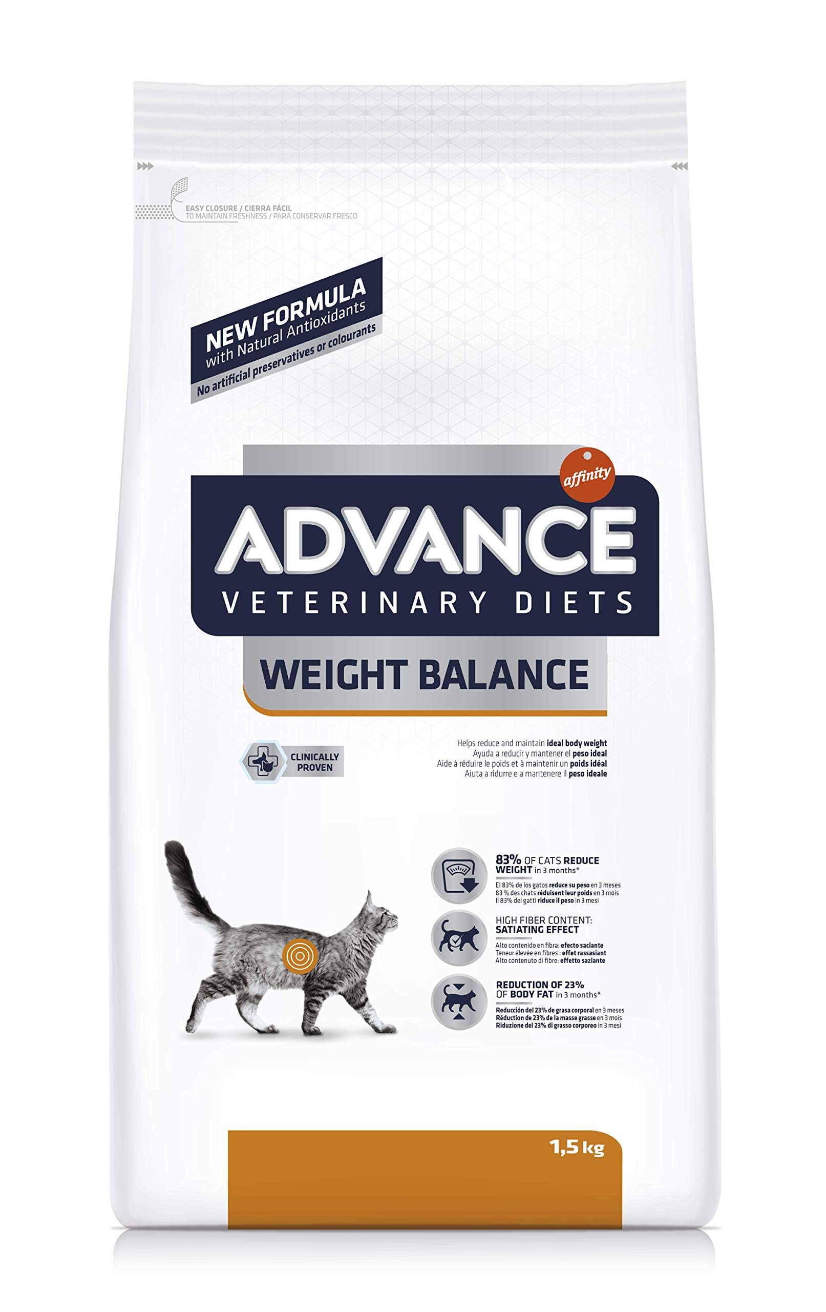Advance Veterinary Diets Weight Balance – Pienso para gatos con tendencia a la obesidad – 1.5 kg
