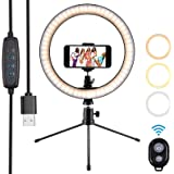 Luce ad Anello 10'' Ring Light per Selfie con Treppiede e Supporto Cellulare Telecomando 3000-5500K ...