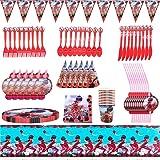 Nesloonp Conjunto de Suministros de Fiesta de Ladybug,94 Piezas Suministros Fiestas Set, Juego Vajilla Fiesta Cumpleaños Pape