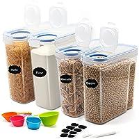 JUCJET 2.5L/4L Boîtes de Conservation Alimentaire, Boîtes à Céréales Hermétiques, Boite de Rangement Cuisine sans BPA…