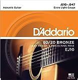 D'Addario Cordes en bronze pour guitare acoustique D'Addario EJ10, Extra Light, 10-47