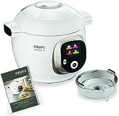 Krups Cook4Me+ CZ7101 Multikocher (6 Liter Fassungsvermögen, 1.600 Watt, inkl. Rezeptbuch) weiß/grau