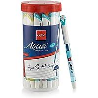 Cello Aqua Gel Pens Jar- Pack of 25 pens | Blue gel pen | Gel Pens for students | Gel pens for smooth writing | Dark ink…