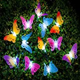 UxradG - Guirnalda de luces solares, 12 luces LED de fibra de mariposa, para jardín, patio, exterior, impermeable, para el ai