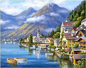 Rrimin Beautiful Country 5D Diamond DIY Painting Home Decor Craft 40*30cm