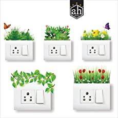 AH Decals Home Décor Elegant Grass Colorful Flowers Butterfly Amazing Wall Stickers for Switch Board Fridge Pannel