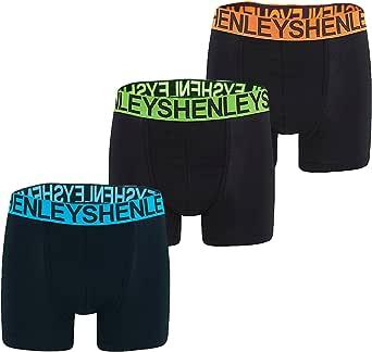 Henleys Mens 3 Pack Boxer Shorts Jersey Stretch Trunks Set