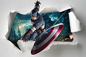 Torn paper stickers child captain america avengers ref 7649