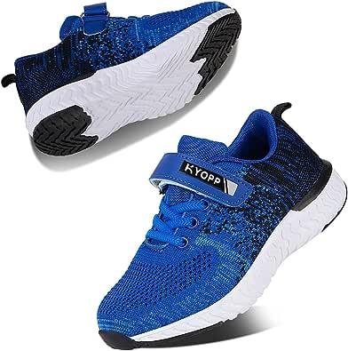 Kyopp Ragazzi Scarpe da Corsa Traspiranti Unisex Ragazze Leggero Sneakers Antiscivolo Scarpe daRagazzo in Velcro Antiscivolo Fitness Casual…