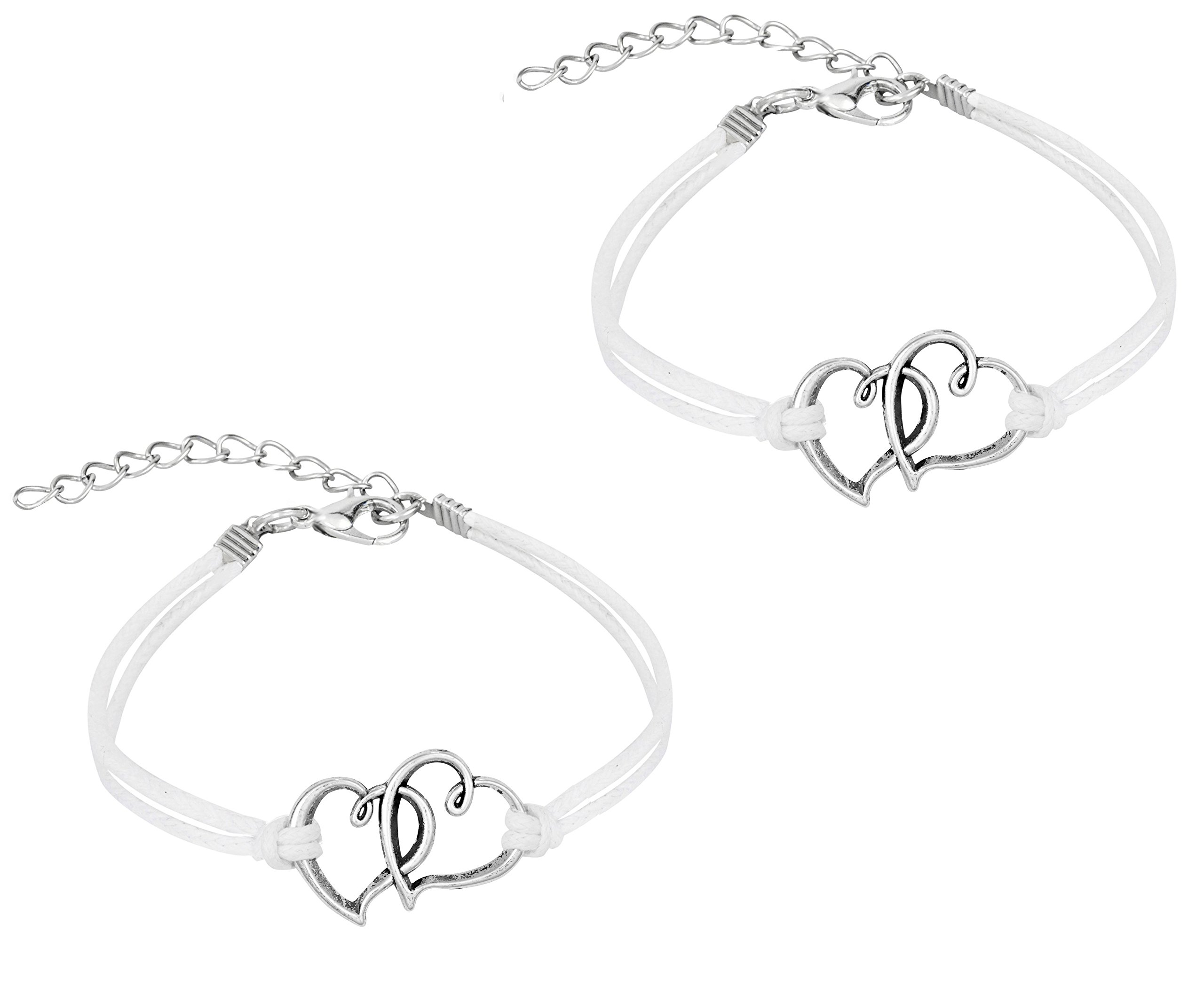 Penny & Piper Set of 2 Matching Friendship Bracelets for Kids with Soft Leatherette Cord