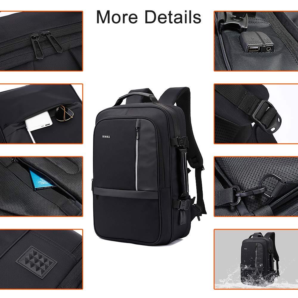 8b4473d1d5 WAWJ 17.3 Pollici Espandibile Antifurto Zaino con Porta USB, Impermeabile  Zaino da Viaggio 35l Uomo Business Scuola Nero (Nero)