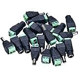 Pasow Adapter für Gleichstrom-Netzstecker und Buchsen, für Überwachungskamera, jeweils 10 Stecker und 10 Buchsen