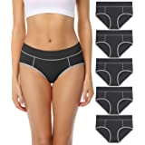wirarpa Ladies Cotton Pants Underwear Mid Rise Knickers Stretch Briefs for Women 5 Pack