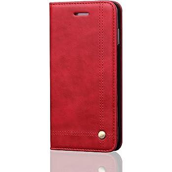 DaGeLon Vintage Coque pour iPhone 6S / 6, Élégant Rabat Étui Mode Flip Housse Rétro Excellente Solide Résistant Cover Premium PU Cuir Cas Folio Livre Case Fermeture Magnétique, Rouge