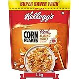 Kellogg's Corn Flakes Real Almond Honey | Breakfast Cereals | High in Vitamin B1, B2, B3, B6 & C| High in Iron | Naturally Ch