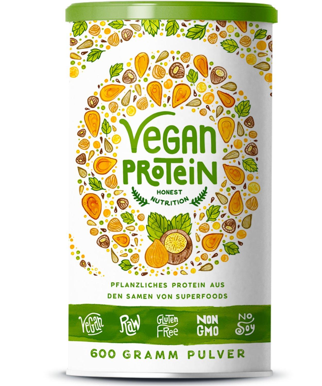 Vegan Protein | HASELNUSS | Pflanzliches Proteinpulver aus Reis, Hanfsamen, Lupinen, Erbsen, Chia-Samen, Leinsamen, Amaranth, Sonnenblumen- und Kürbiskernen | Mit Verdauungsenzymen | 600 Gramm Pulver