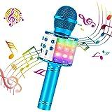 ShinePick Microfono Inalámbrico Karaoke, Micrófono Karaoke Bluetooth Portátil con Altavoz y LED para Niños Canta Partido Musi