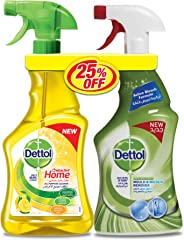 Dettol Lemon Healthy Home All Purpose Cleaner Trigger 500 ml + Mould & Mildew Remover, 500 ml Twin Pack
