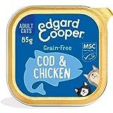 Edgard & Cooper Comida Humeda Gatos Adultos Natural Sin Cereales Esterilizados, Latas 19x85g Pollo y Bacalao Frescos, Fácil d