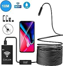Endoskopkamera, Kabelloses Inspektionskamera USB Wifi Endoskop 1200P HD Wasserdichte Halbsteife Kabel Boreskope Schlange Kamera für Android und IOS Smartphone, iPhone, Windows - 10M (Schwarz)