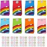 Ulikey 48 Pezzi Sacchetti Regalo di Carta, Paper Bags, Sacchetti di Carta Regalo Borse Arcobaleno con 60 Adesivi Utilizzato i