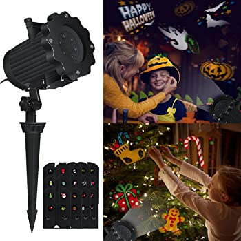 Projecteur Halloween Noël, Airlab projecteur de lumière LED avec 12 motifs différents et remplaçables, images claires et lumineuses