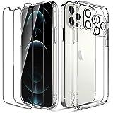 LK Compatible con iPhone 12 Pro 5G Cristal Templado Funda 6.1 Pulgadas, 2 Pack HD Cristal Protector de Pantalla y 2 Vidrio Te