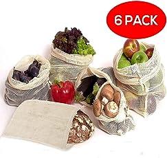 6x Wiederverwendbaren 100% Baumwolle Mesh-Taschen - Verschiedene Größen (S,M,L) - Organic Cotton Produzieren Taschen for Zero-Waste Grocery Shopping - Robust, Waschbar, Wiederverwendbar & Langlebig Doppelt Genäht mit Tare Weight Tag - Perfekt für Frische Produkte, Obst und Gemüse - Plastikfreien Einkauf