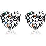 Qings Pendientes Corazón Árbol de la Vida, Plata de Ley 925 Mujeres Hipoalergénicos Pendientes con Circonitas Cúbicas para Mu