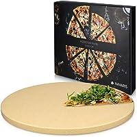 Navaris Pietra refrattaria per Cottura Pizza XL - per cuocere nel Forno di casa Pane Pizza focacce teglia Tonda 30,5 (Ø…