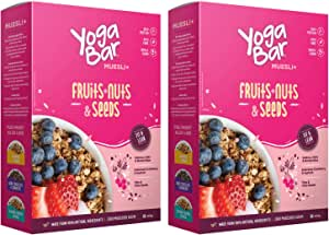 Yogabar Muesli Fruit and Nuts - Wholegrain Breakfast Cereals with Oats and Dry Fruits, High in Omega 3, Gluten Free Vegan Granola with Chia and Flax Seeds (400g - Pack of 2)