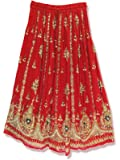 First Style Women's Sequin Skirt Rayon Long Ankle Length Skirt with Drawstring Bohemian Hippi Gypsy Skirt