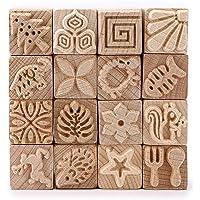 SUMTREE 16pcs Timbre Sculpté en bois Outil de Poterie Tampon Carré avec une boîte pour savon,lettre,argile poterie