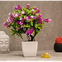 PolliNation Artificial Bonsai Plant with Pot for Home Decoration (Pink, Pack of 1)