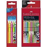 Faber-Castell 110994 - Buntstifte Jumbo Grip Neon, 5er Etui (1, inkl. 12 Sonderfarben)
