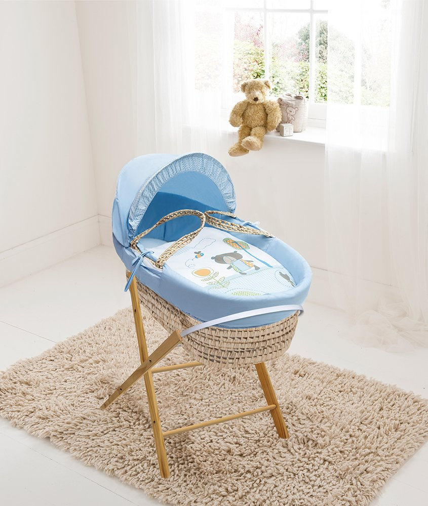 Beary Nice Blue Palm Moses Basket & Folding Stand Elegant Baby Suitable from newborn for up to 9kg, this Moses Basket uses Easy-care Poly Cotton with a soft padding surround Suitable from newborn to 9 months It also includes a comfortable mattress and an adjustable hood perfect to create a cosy sleeping space for your precious little one 1