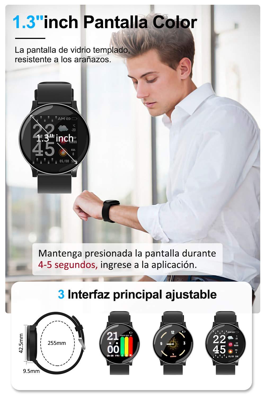 AIMIUVIE Smartwatch, Reloj Inteligente IP67 con Pulsómetro Podómetro Presión Arterial Oxígeno de Sangre, Sueño, Reloj Inteligente Deportivo para Mujer Hombre … 2