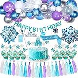 Tacobear Elsa Frozen Fiesta Cumpleaños Decoración Azul Fiesta Guirnalda de Globos Cake Cupcake Topper Banner Guirnalda de Bor