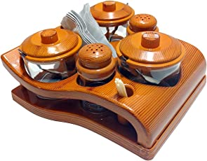 Paramsai Plastic All In One Pickle, Salt and Pepper Jar Set, Brown