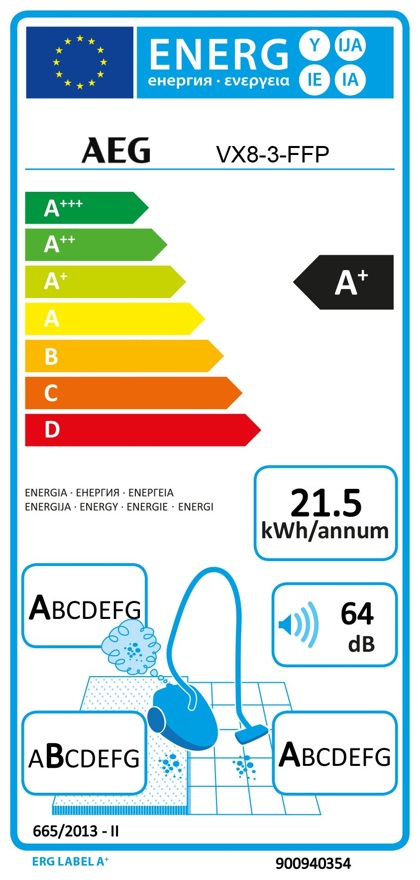 AEG VX8-3-FFP Staubsauger (mit Beutel, 650 W, nur 64 dB(A), 12 m Aktionsradius) blau & AEG GR201SM original s-bag…