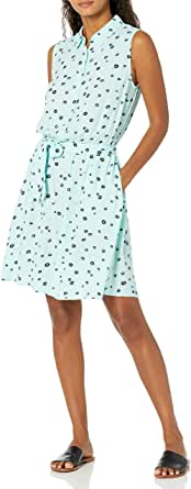 Amazon Essentials Women's Sleeveless Woven Shirt Dress