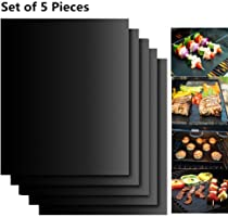 EXTSUD BBQ Grillmatten, 5er Set BBQ Antihaft Grill-und Backmatte Wiederverwendbar PFOA-Frei – Toll über Kohle, Gas und...
