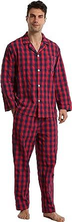 Men's Pyjamas Set Cotton Checked Sleepwear Ultra Comfy Button Up Long Sleeve Shirt Tops & Pyjama Bottoms with Pockets Loungewear for Summer