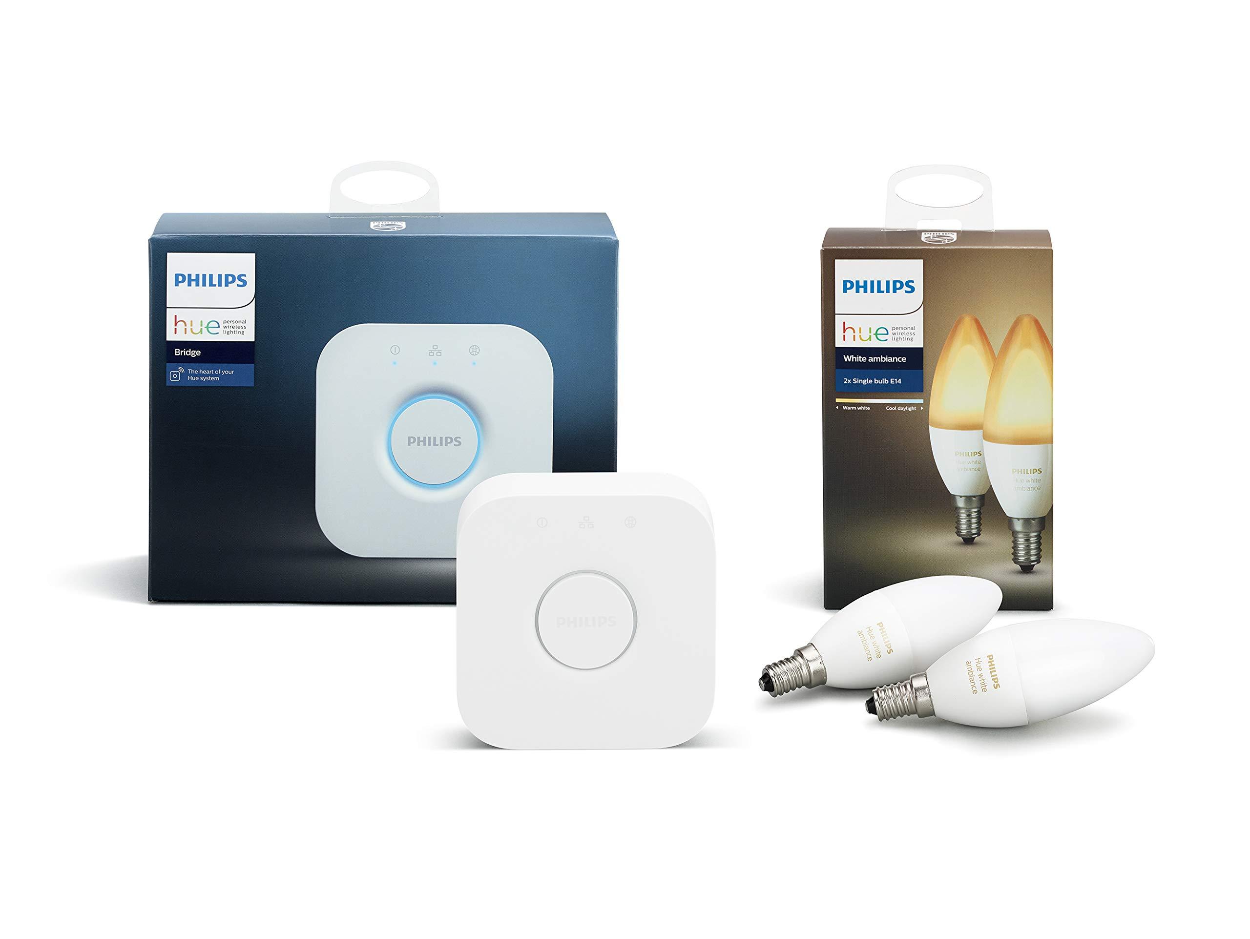 Philips Hue White Ambiance E14 Extension de bougie à LED, à intensité variable, toutes les nuances de blanc, contrôlable via une application, compatible avec Amazon Alexa (Echo, Echo Dot), 1 Unité