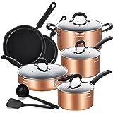EPPMO Batterie de cuisine antiadhésive en aluminium, ensemble de casseroles, poêles, casseroles et poêles avec couvercle, tou