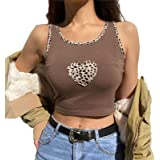 GuliriFe Damen Y2K Crop Top Valentinstag Herz bedrucktes Hemd Langarm Leopard Patchwork Crop Top Rundhals Streetwear Tops für