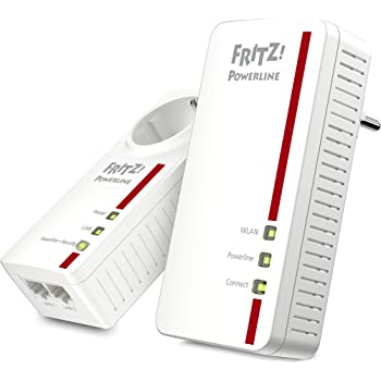 AVM Fritz! Powerline 1260E/1220E WLAN Set (WLAN-Access Point, ideal für Media-Streaming oder NAS-Anbindungen, 1,200 MBit/s, internationale Version) weiß
